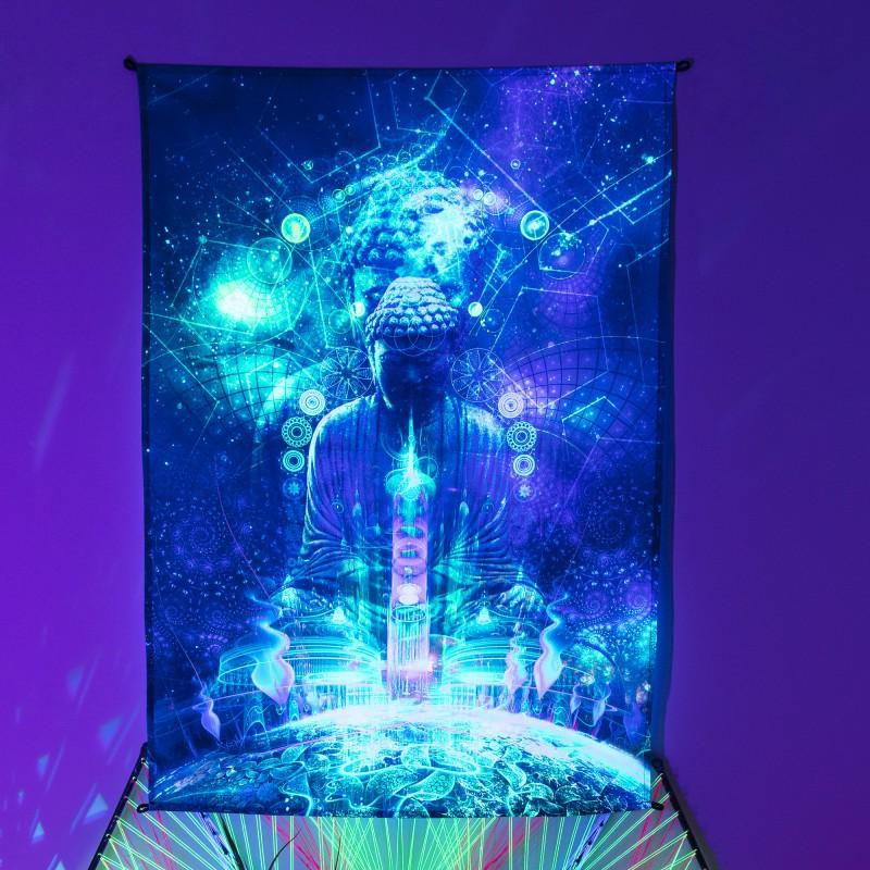 Trippy Fractal Doom Décor Tapestry «Cosmic Buddha»