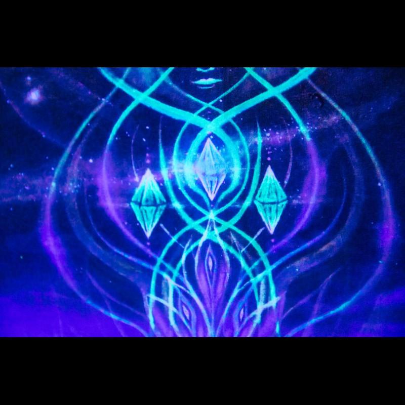Meditation UV blacklight Wall Art «Creation of Trimurti»
