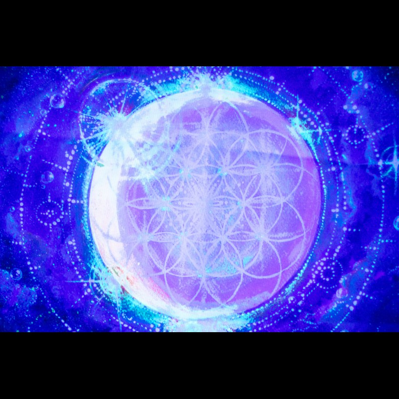 Psychedelic UV-active painting «Flower of Life»