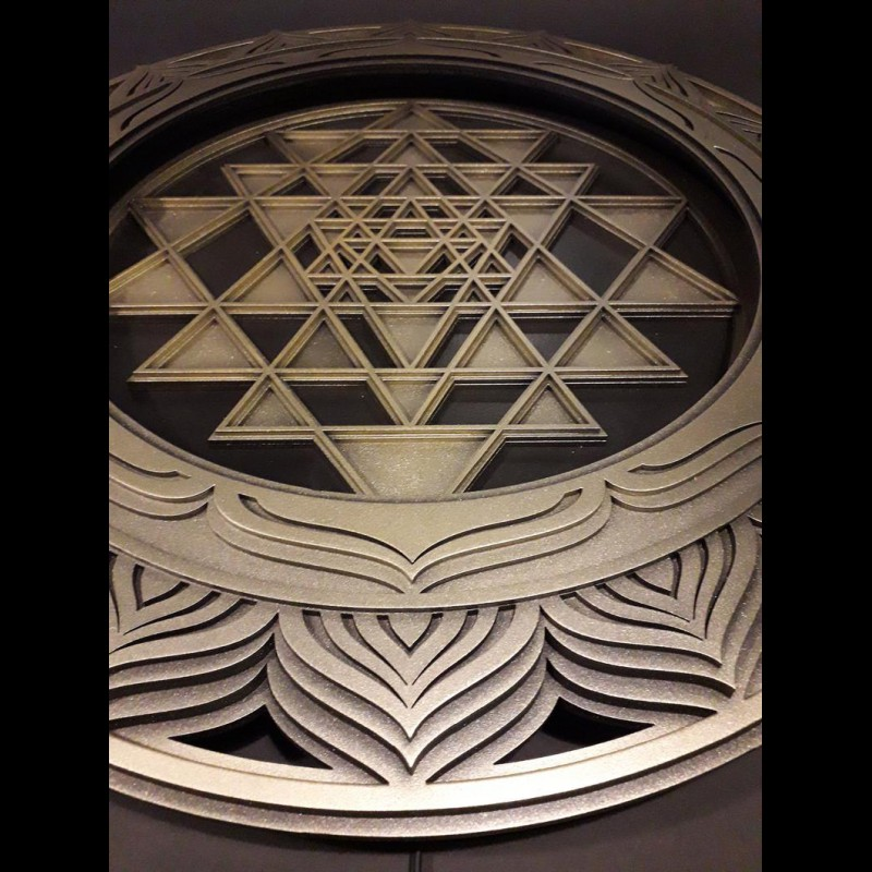 "Bohemian Wood Lamp Sacred Geometry ""Sri Yantra"", 4 layers"