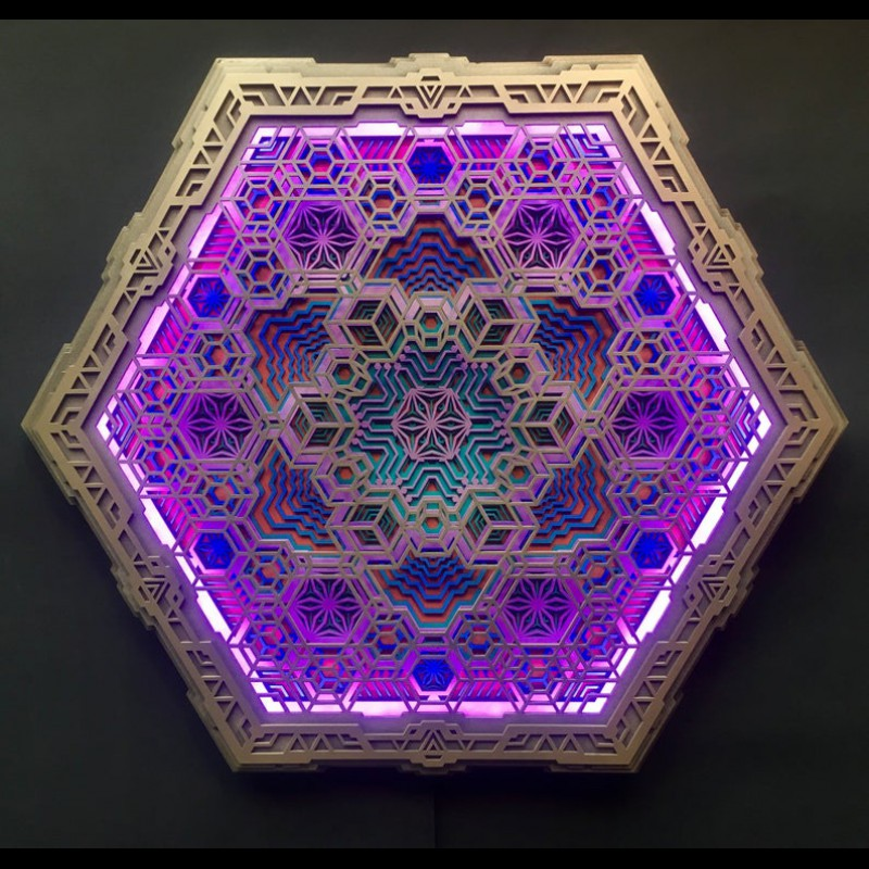 "Sacred Geometry Wall Wood Deco-lamp ""Vega"", 6  layers"