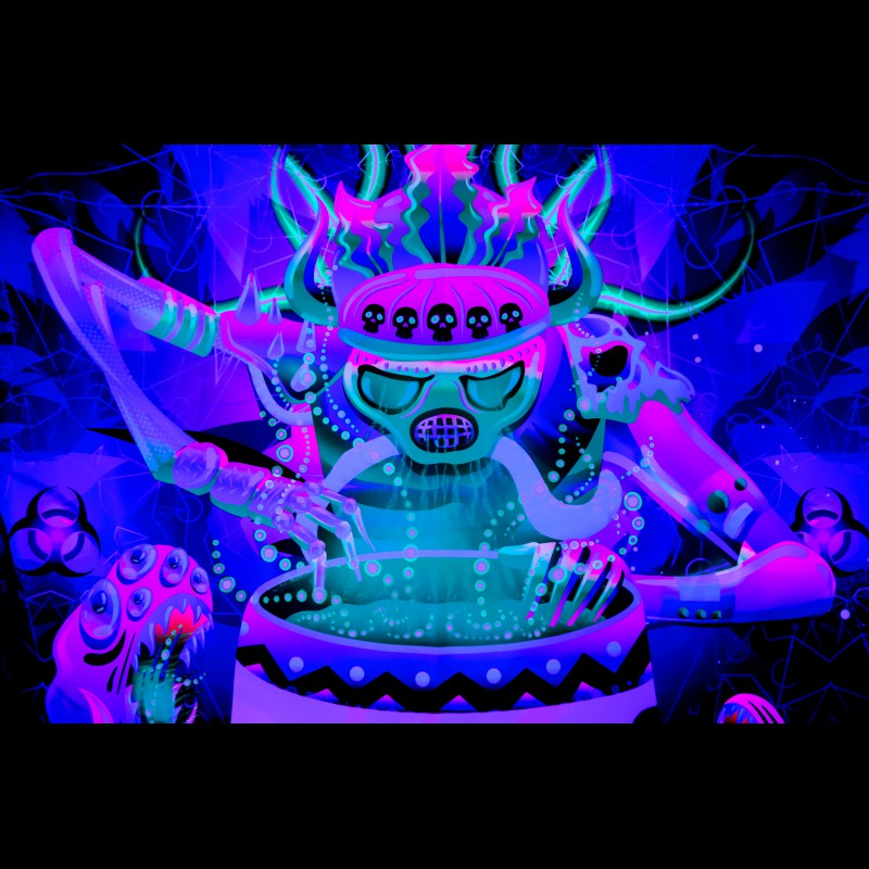 "trippy fluorescent UV-active decorations  ""Shaman of The Apocalypse"""