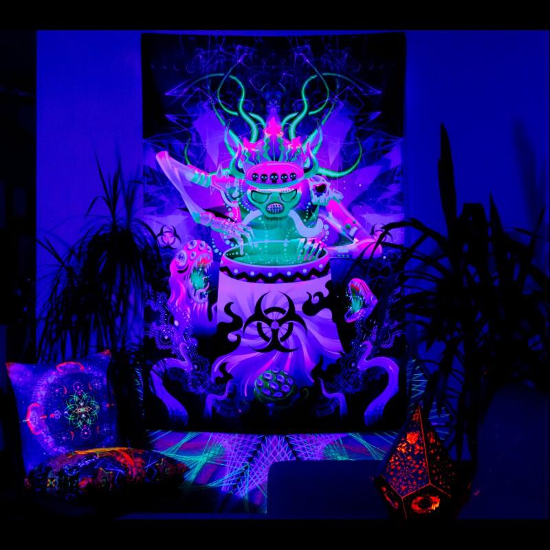 "trippy fluorescent UV-active decorations  ""Shaman of The Apocalypse"""