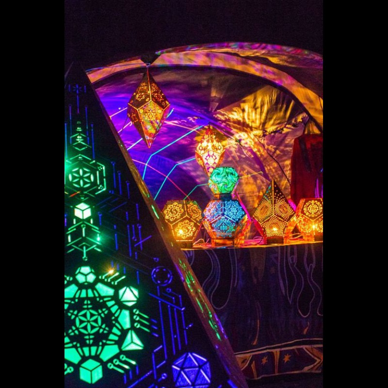 "Wooden Lamp ""Metatron flying Cristal"" sacred geometry light decor"