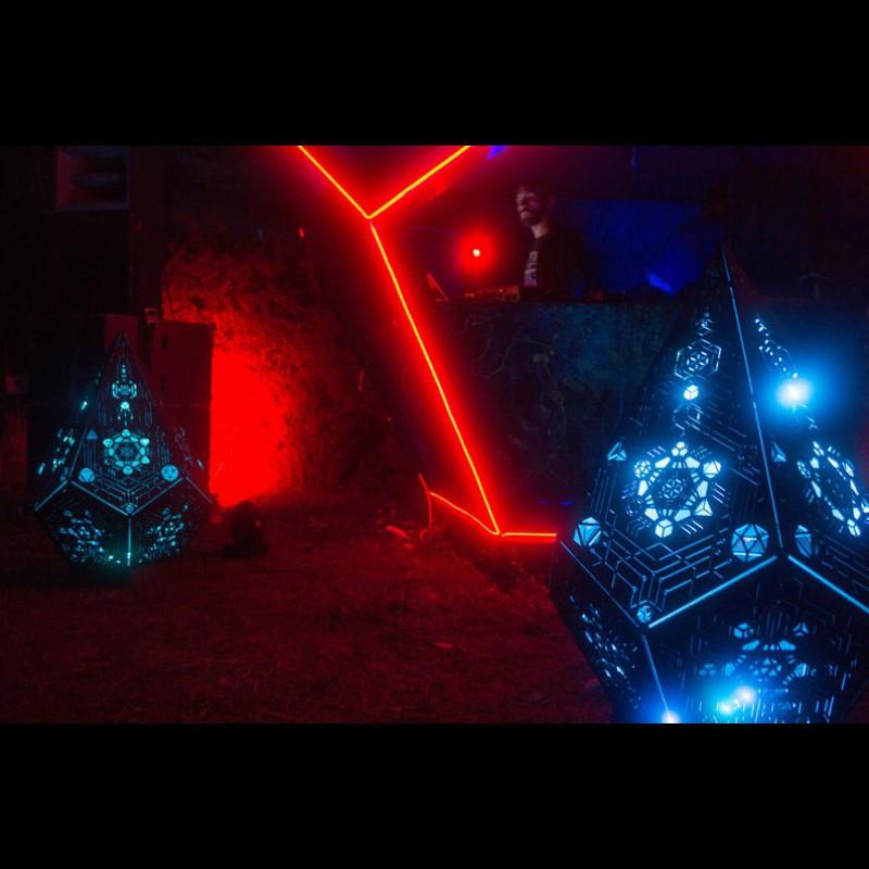 "Wooden LED lamp ""Metatron Crystal"" night light"