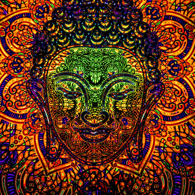 "Spiritual Bohemian UV-Pillow ""Fractal Buddha"""
