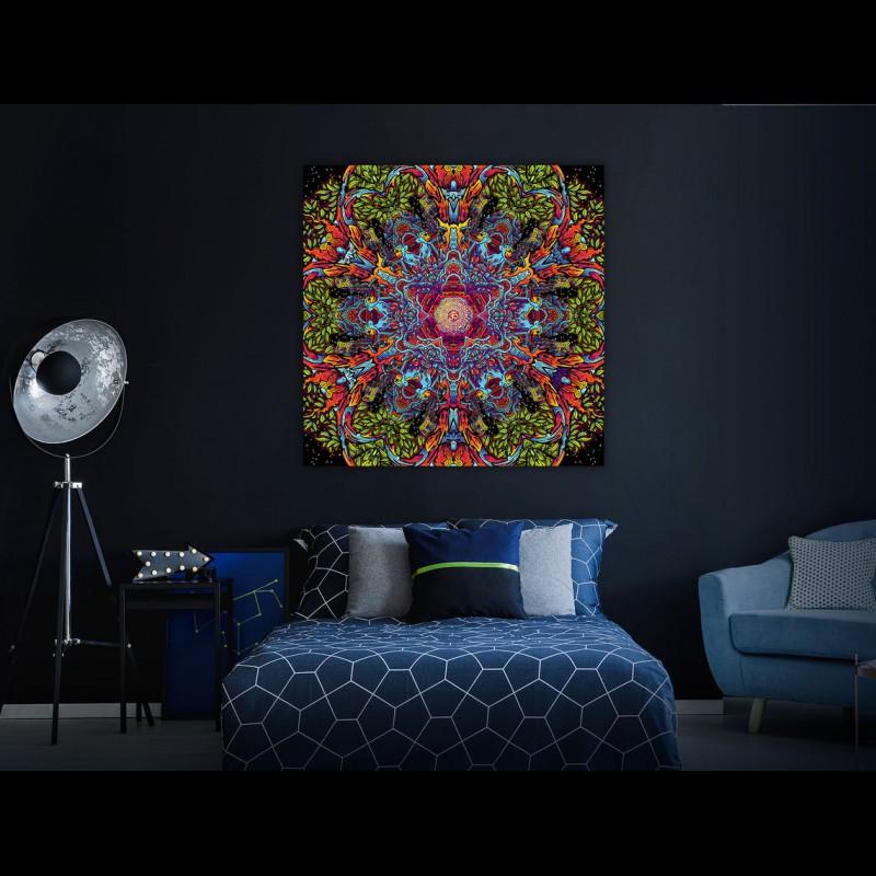 """Festival blacklight active backdrop """"Hanuman Mandala"""""""