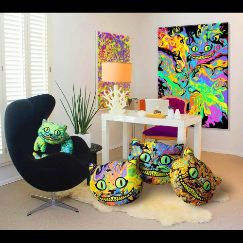 "Psychedelic Travel Pillow ""Cheshir Cat"""