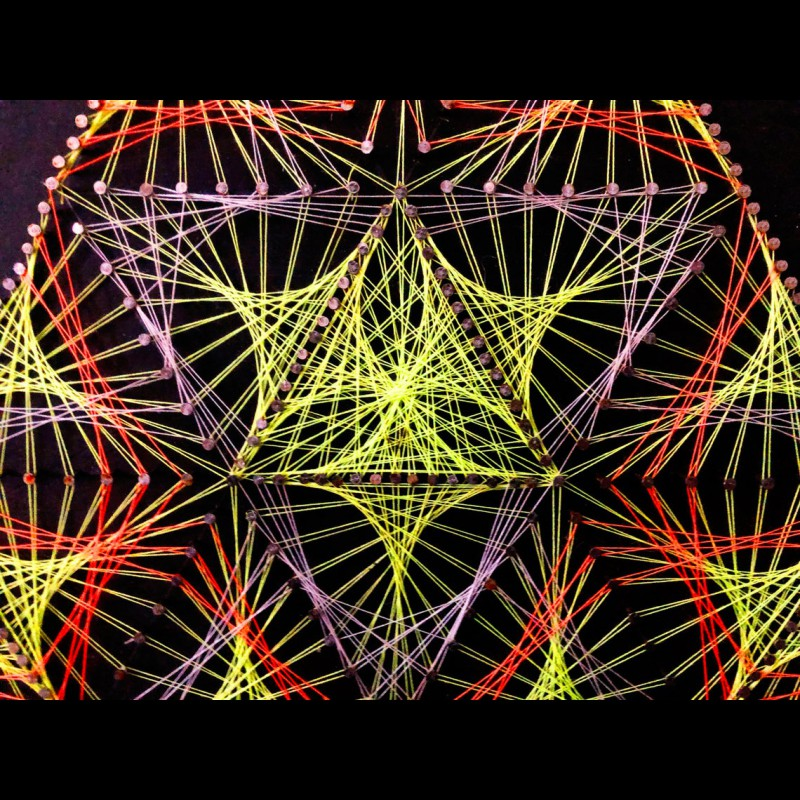 """String Art Trippy Psychedelic Wall Deco """"Sacred diversity"""""""
