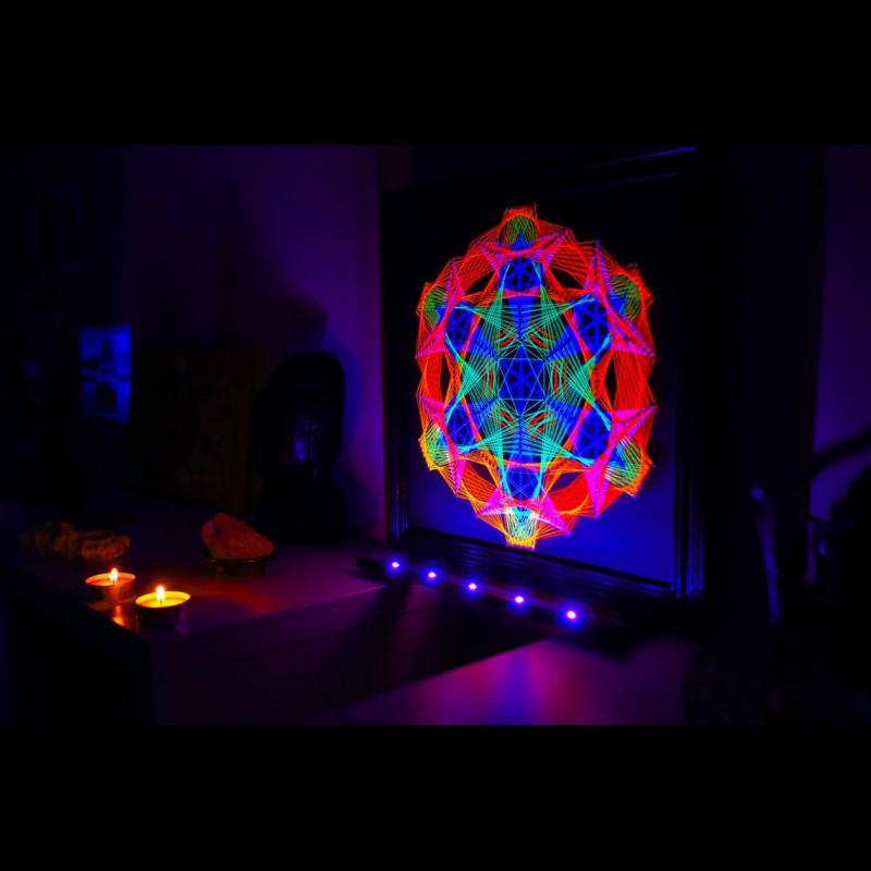 """Fluorescent String Art Mandala """"Fractal Infinity"""""""