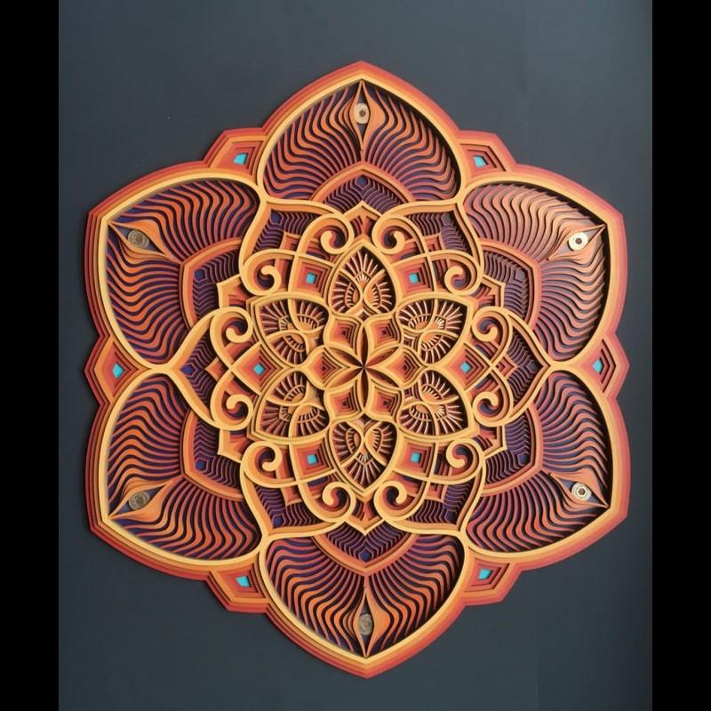 """Sacred Geometry Mandala Wall Art """"Sunflower"""" 6 layers"""