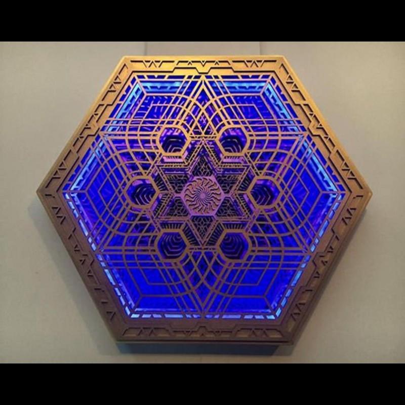 "Psychedelic Bohemian Mandala Lamp Spiritual Wall Art ""Gaia"", 5 layers"