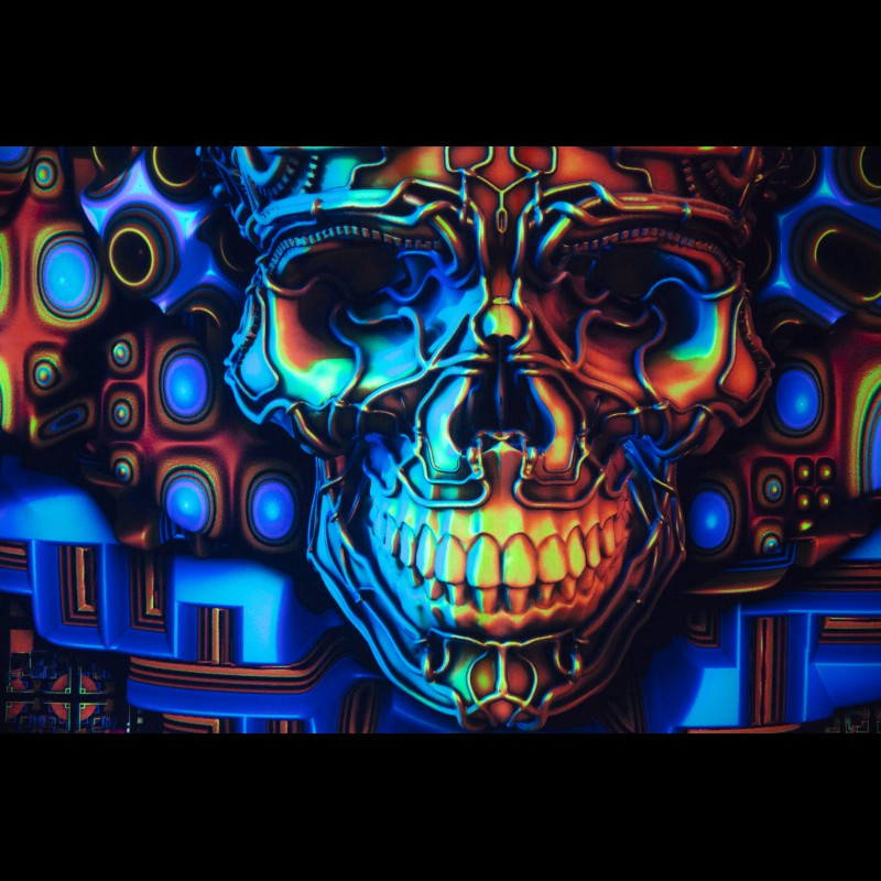 Glowing in ultraviolet trippy backdrop «Neural Plasticity»