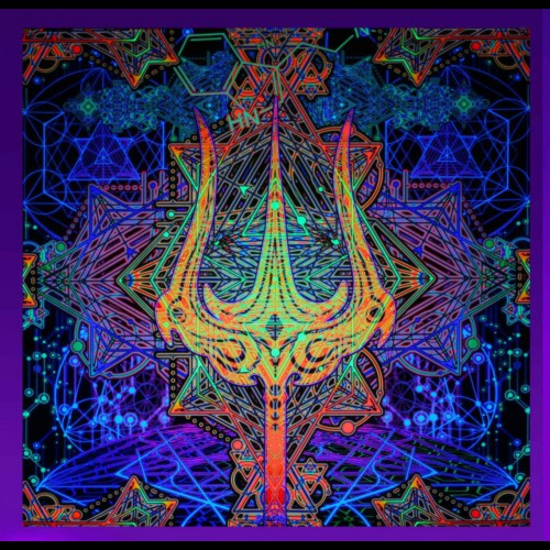 """Astral Psychedelic Tapestry Trippy Wallpaper """"Trishula Power"""""""
