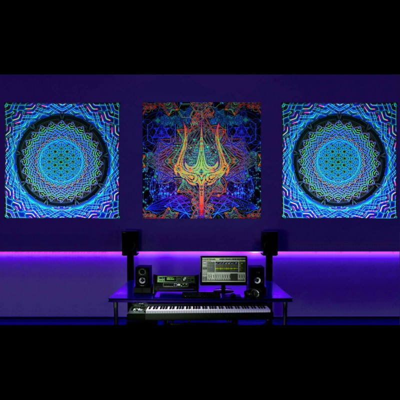 "Astral Psychedelic Tapestry Trippy Wallpaper ""Trishula Power"""