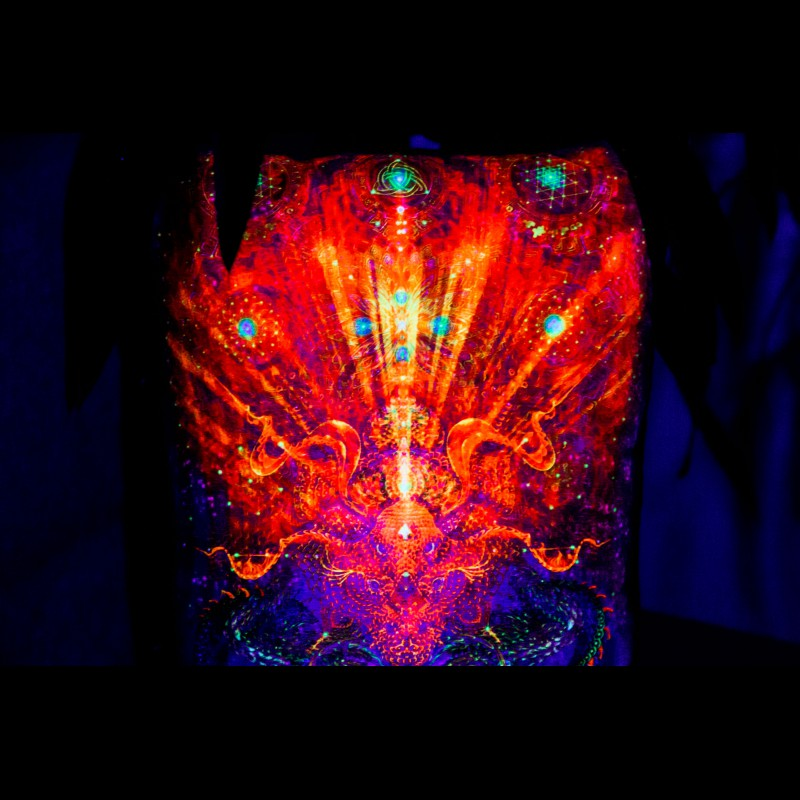 "UV-Surreal Boho Pillow ""Infinity Dragon"""
