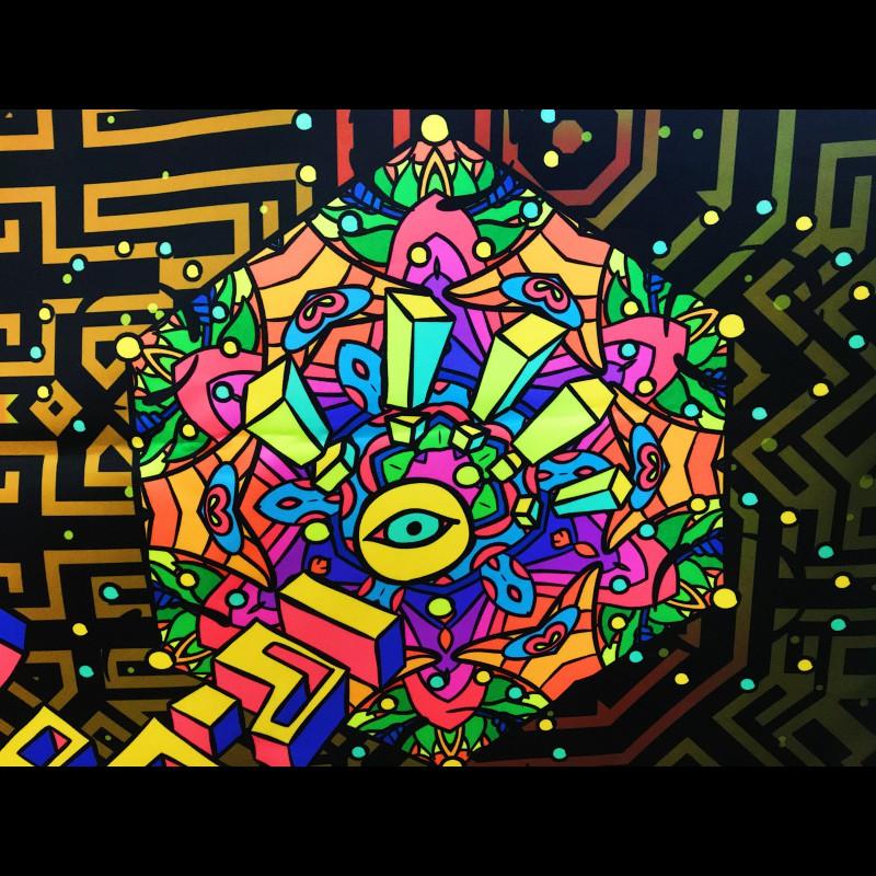 """Fluorescent mushroom tapestry """"Magic Mushroom God"""""""