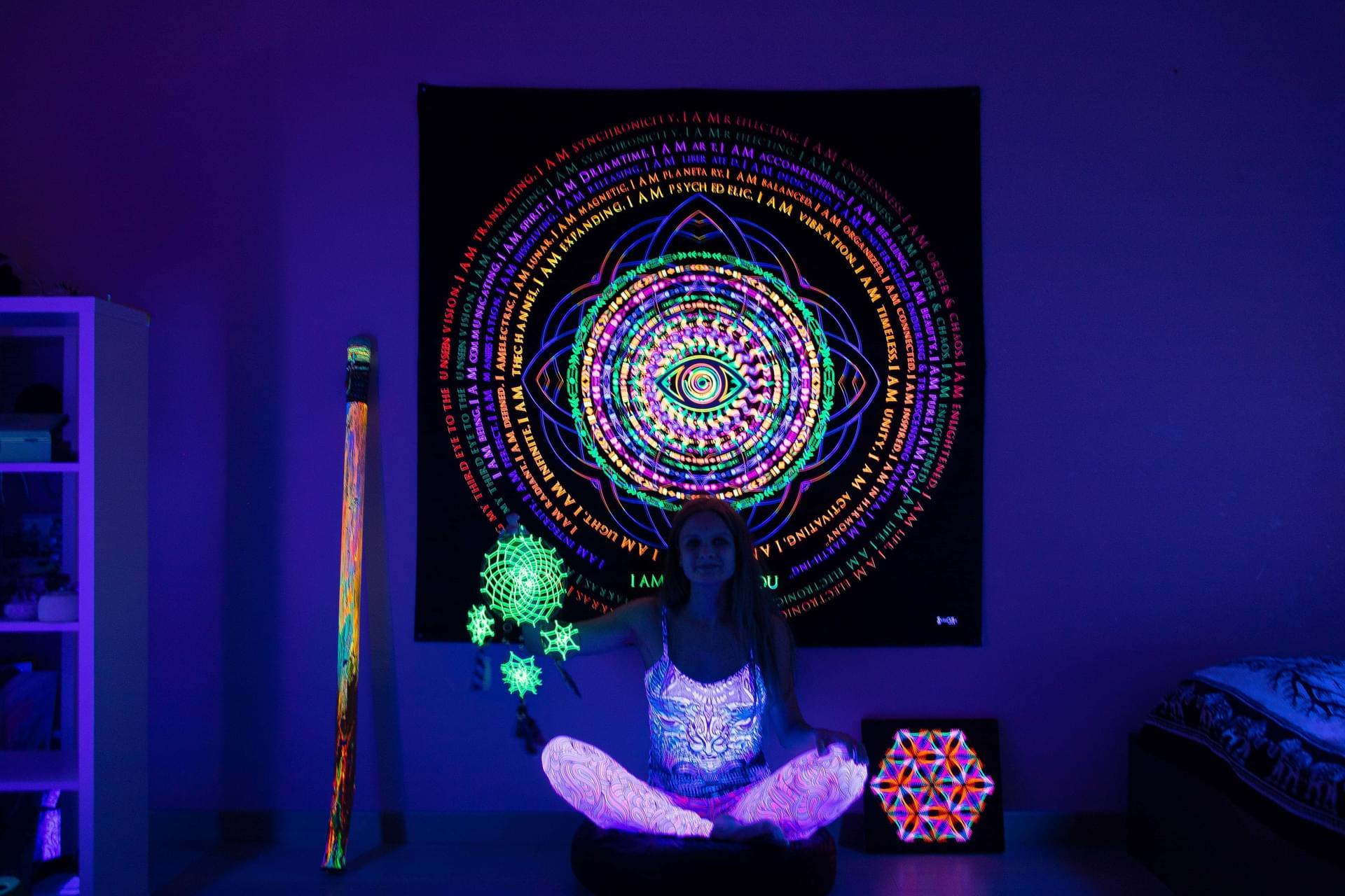 Psytrance UV Mandala Backdrop «We are the one»