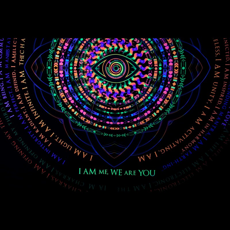 Psytrance UV Mandala Backdrop «We are the one»