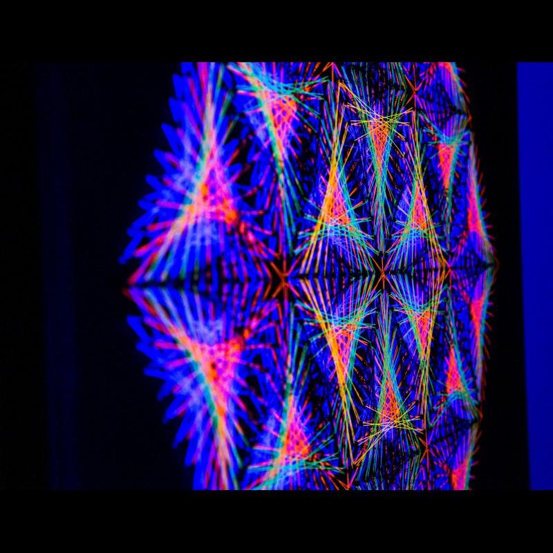 """Handmade UV-active Wall Mandala-Art """"Little Universe"""""""