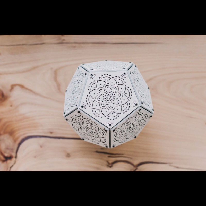 "Shadow Table Wooden Lamp ""Mandala White"" night light"
