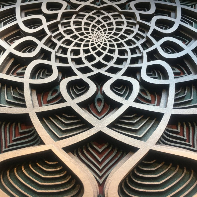 "Wood Carved Bohemian Wall Deco Mandala ""Vidya"" 6 layers"