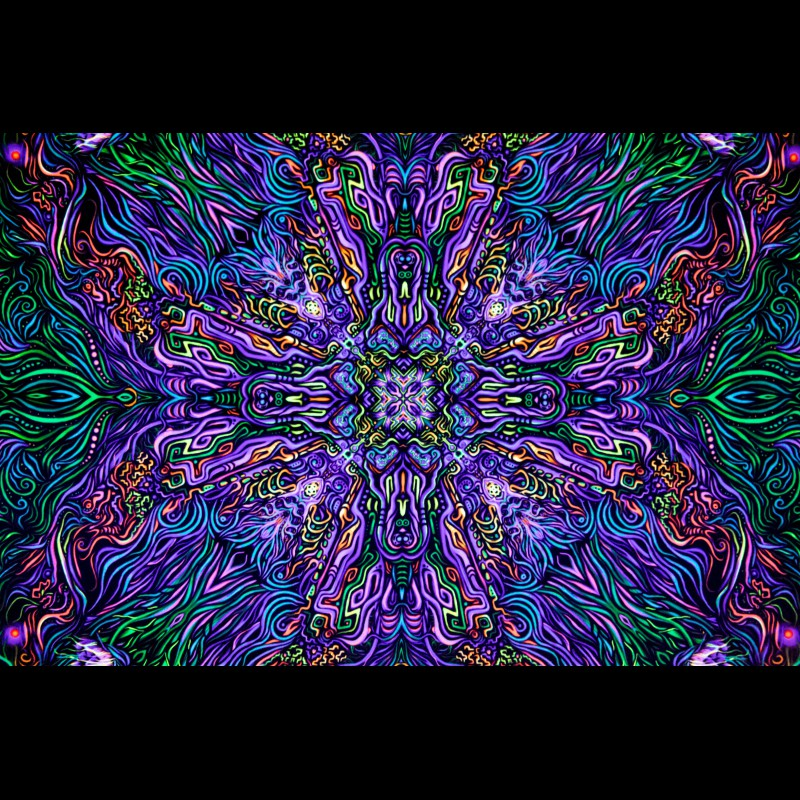 "Fractal UV-active art-decor ""Cosmic Mandala"""