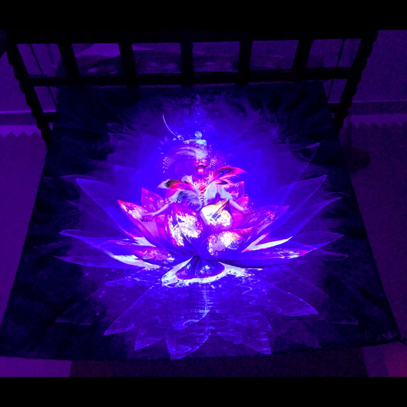 "meditation fluorescent decorations backdrop ""Lotos"""