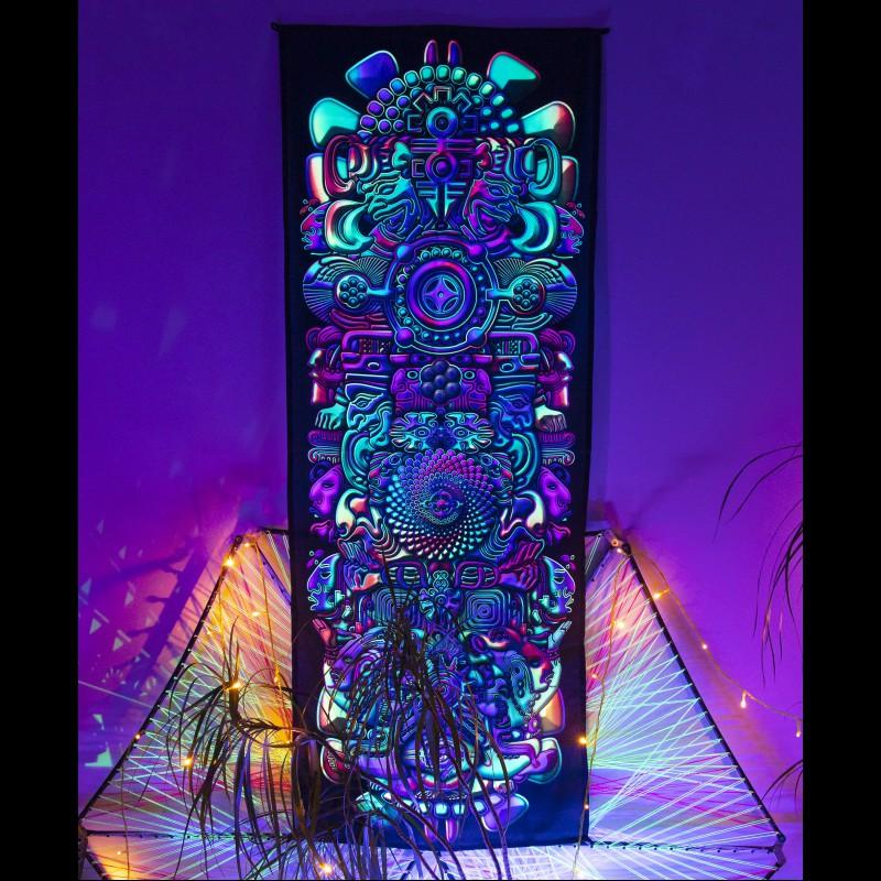 Shamanic trippy blacklight tapestry «Totem»