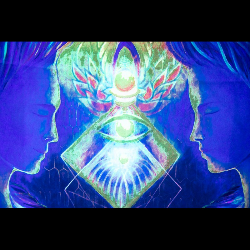 Spiritual glow in the dark poster «Power of twin flame»