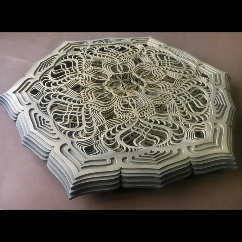 "Sacred Geometry Psychedelic Mandala Bohemian Lamp ""Golden Teacher, 5 layers"