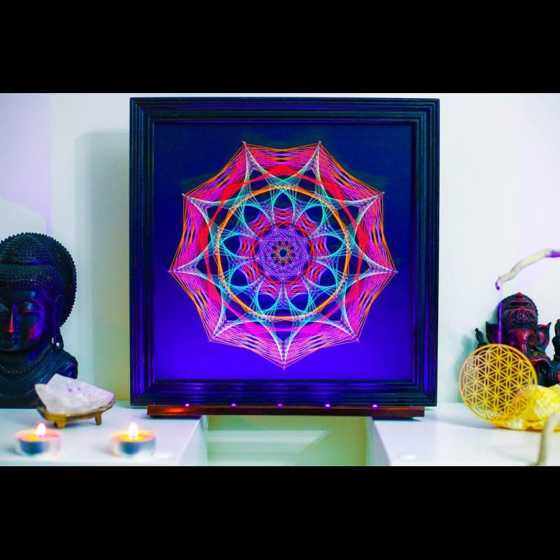 """Fluorescent Blacklight String Art  """"Petals of Life"""""""