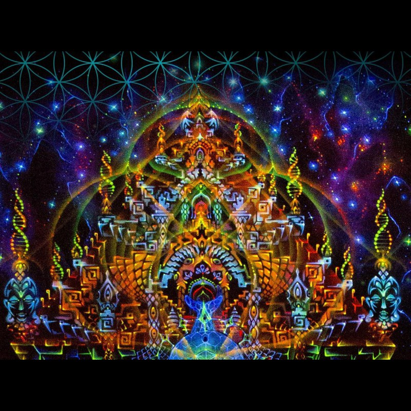 Esoteric UV glowing canvas «Trinity»