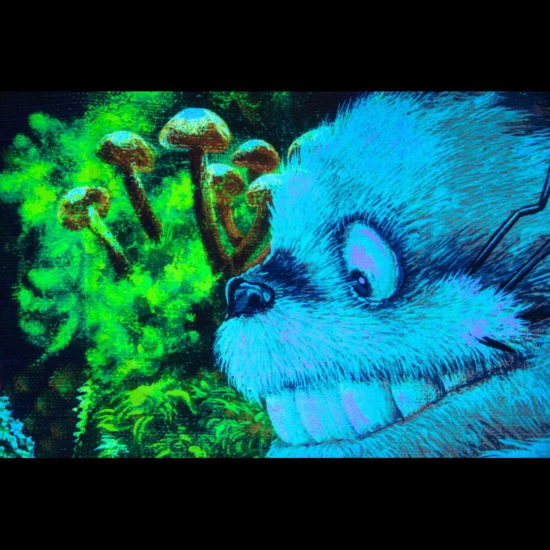 Fluorescent blacklight déco «Totoro Macro»