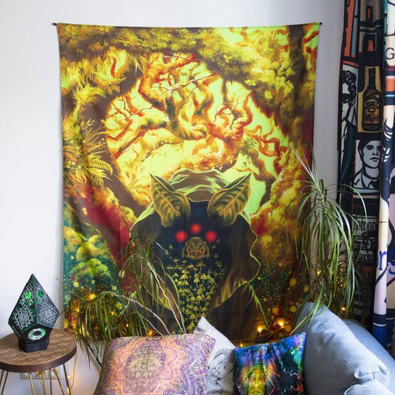 Blacklight active backdrop spiritual painting «Mushroom elf»