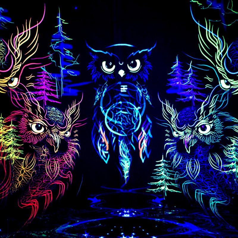 "Psychedelic boho tapestry ""Owls DreamCatcher"""