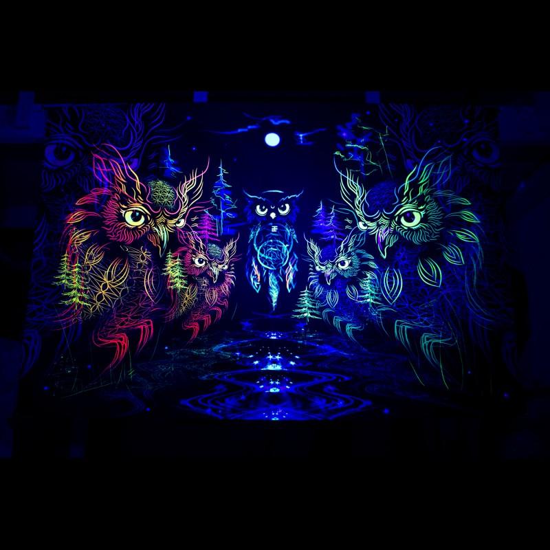"Psychedelic boho tapestry ""Owls DreamCatcher"""