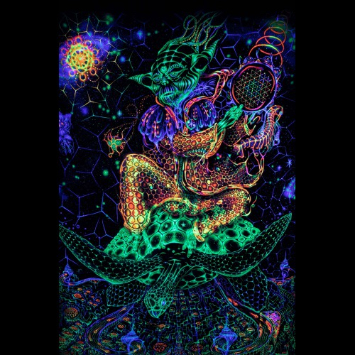 Trippy Blacklight Tapestry «Power of Yoda»