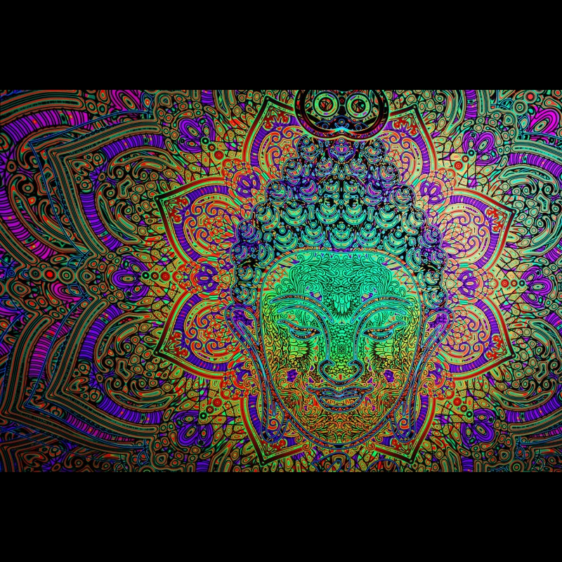 Esoteric trippy psychedelic painting «Fractal Buddha»