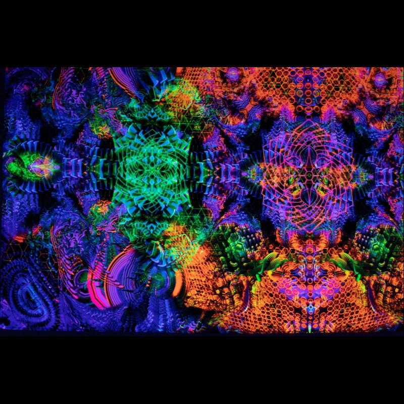 Trippy Wall Art Psychedelic Tapestry «Yakelan Mandala»