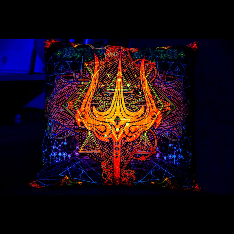 "Abstract Trippy UV-Pillow ""Trishula Power"""