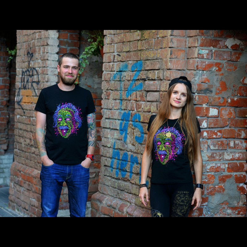 Psychedelic UV Active  Fluorescent Trippy Tshirt «Acid Scientist»