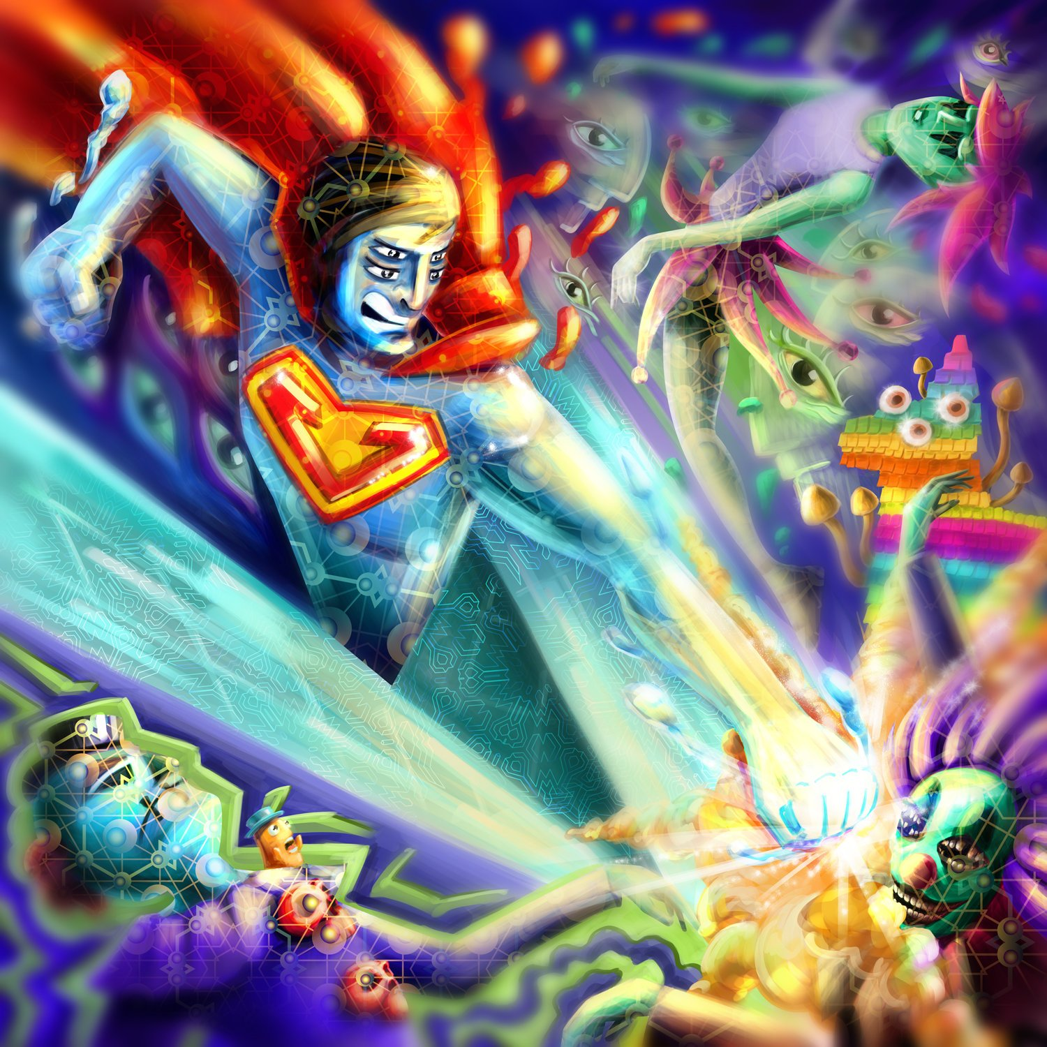 Acid fluorescent backdrop «Superman on Acid»