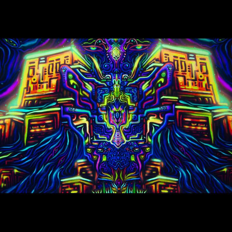 Psychedelic Trippy UV Tapestry «Shiva Light»