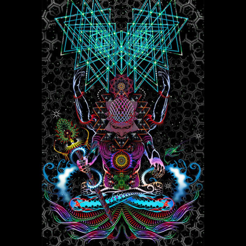 """Psychedelic fluorescent 3D bedroom tapestry """"Macrocosm"""""""