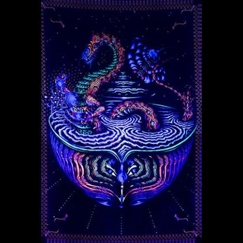 "Fluorescent blacklight 3D artwork ""Dragon"""
