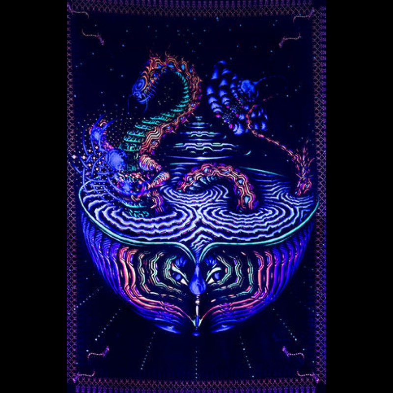 "Fluorescent blacklight 3D artwork ""Dragon"""
