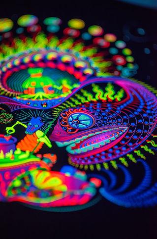 "Hippie Ayahuasca UV 3D backdrop ""Sound Kitchen"""