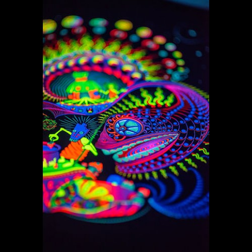"Hippie Ayahuasca UV 3D backdrop ""Sound Kitchen"""