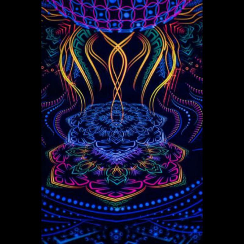 """Psychedelic fluorescent boho tapestry  """"Ganesha"""""""